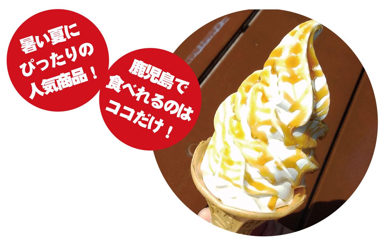薩摩伝承の芋蜜×北海道生乳。あめんどろソフトクリーム。